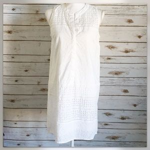 Loft White Eyelet Tank Dress